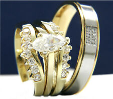 New Womens Stainless Steel Engagement Mens Wedding Bridal Band CZ Ring Set