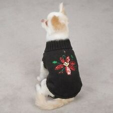 Zack & Zoey Poinsettia Sparkling Holiday Dog Sweater