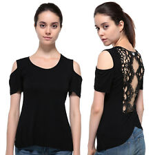2016 Sexy Fashion Women Off Sholder Back Lace Splice Solid T-Shirt Tops Blouse