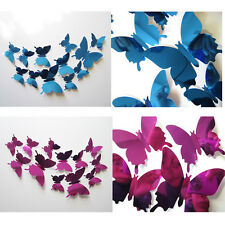 12 Pcs 3D Butterfly Mirror Wall Sticker Decal PVC Wall Home Bedroom Decoration