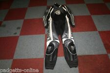 YAMAHA BLACK SILVER WHITE MENS TWO PIECE LEATHER MOTORCYCLE SUIT VARIOUS SIZES