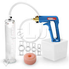 "LeLuv MAXI Blue Penis Pump 9"" Erectile Dysfunction Aid + 4 Rings & Soft Donut"