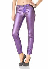 Laura Scott Ladies Skinny Jeans Jeans Pants Shiny Tube Stretch purple 686180