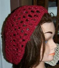 New Hand Crochet or Knit Slouchy Beanie Beret OOAK Choice Red Tan Check 2 tone
