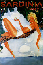 TRAVEL TO SARDINIA BEACH GIRL ON A TREE ITALY ISLAND SUMMER VINTAGE POSTER REPRO