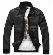 HOT Mens Slim Top Hoody Coat warm Designed Cotton PU Leather Thick Jacket New DD