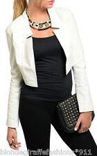 Ivory Cropped Pleather/Faux Leather & Jersey Bolero Jacket Arden B XS S