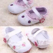 Toddler Baby Girls Floral Lace Working Shoes Soft Mary Jane Soft Sole Crib Shoes