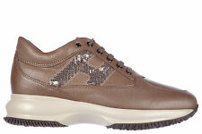 HOGAN WOMEN'S SHOES LEATHER TRAINERS SNEAKERS NEW INTERACTIVE H PAILLETTES B E63