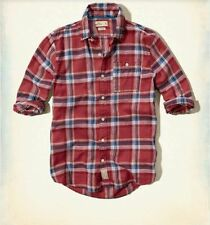 Hollister by Abercrombie Men's NWT Red Plaid Poplin Button Down Shirt Large