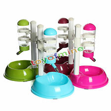 Pet Cat Dog Water Drinker Dispenser Food Stand Hamster Feeder Dish Bowl Bottle