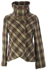 PRIORITIES Womens Multi Plaid Lindsay High Collar Coat #41742 $271 NEW