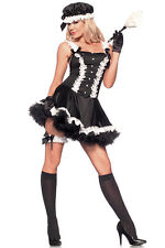 Sexy French Maid Costume Dress Garter Hat & Duster Cosplay Halloween Fantasy
