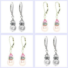 Swarovski Elements Crystal Simulated Pearl Sterling Silver Leverback Earrings