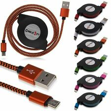 3FT/1M Braided Retractable Micro USB Data Sync Charger Cable For Android Phone