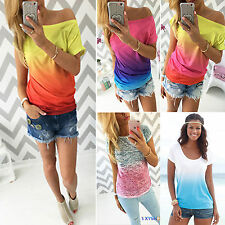 Women Casual Ombre Tie-dye Print Short Sleeve T-shirt Boat Neck Tops Blouse Tee