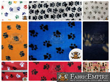 """Polar Fleece Printed Fabric PAW PRINT 60"""" Wide Sold By the Yard"""