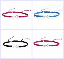 Sterling Silver Cubic Zirconia Key w/ Love Hand Braided Adjustable Cord Bracelet