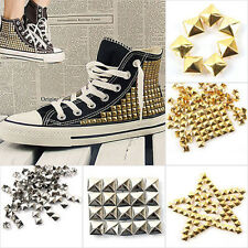 100x Square Pyramid Rivet Metal Studs Spikes Punk Craft Shoes Belt Clothing Accs