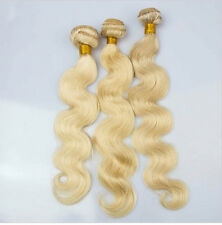 3 Bundles #613 Blonde Brazilian Human Hair Extensions Body Wave Hair Weave 50g