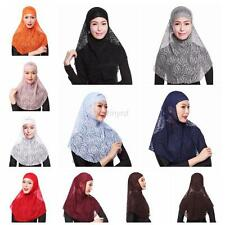 2PCS Fashion Womens Lace Hijab Amira Muslim Islamic Head Scarf Hijab Wrap Shawl