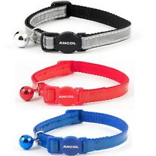 NEW ANCOL GLOSS REFLECTIVE SAFETY RELEASE BUCKLE CAT COLLAR & BELL RED/GREY/BLUE