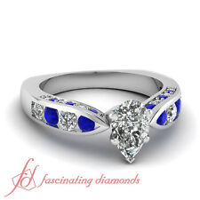 1.75 Ct Pear Shaped Cut:Very Good Diamond & Blue Sapphire Engagement Ring GIA