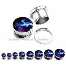 Stainless Steel Galaxy Flared Ear Plugs Expander Stretcher Tunnels Piercing