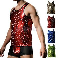 Hot Sale Men's Shinny Sexy Sleeveless O-Neck Underwear Stars Pattern Vest Tops