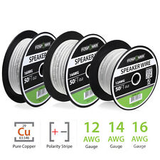 FosPower 50ft 100ft 250ft 12 14 16 Guage CL2 In Wall Speaker Wire Cable Spool