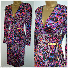 NEW M&S PER UNA DRESS SHIFT GREY BLACK PURPLE RED ABSTRACT PARTY WORK 10 - 20