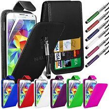 PU Leather Flip Case Cover LCD Film & Pen for Samsung Galaxy S5 I9600