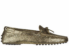TOD'S WOMEN'S LEATHER LOAFERS MOCCASINS NEW HEAVEN NEW LACCETTO GOLD 329