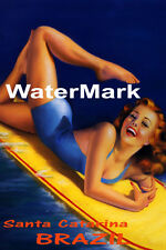 SURF SANTA CATARINA BRAZIL BEACH GIRL WATER BOARD SURFING VINTAGE POSTER REPRO
