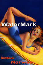 SURF HODDEVIK NORWAY BEACH GIRL WATER BOARD SURFING FUN VINTAGE POSTER REPRO