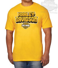 Harley-Davidson Mens Unleashed Power B&S Yellow Short Sleeve T-Shirt