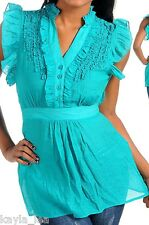 Turquoise Ruffle/Button Front Tie Back Cap Sleeve Top S/M/L
