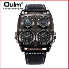 Leather Men Dual Time Military Army Compass Thermometer Sport Quartz Wrist Watch