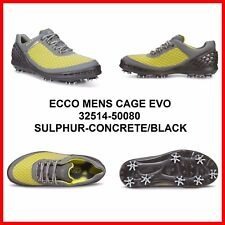 New Ecco Mens Golf Cage Evo Spike shoes Gray / Yellow EU 39 40 41 42 43 $200