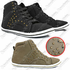 New Ladies Womens Stud Hi Top Ankle High Boots Trainers Check Shoes Suede Pumps