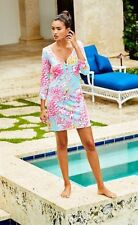 New Lilly Pulitzer V-Neck PALMETTO Henley Dress S M L XL Breakwater Blue Lolita