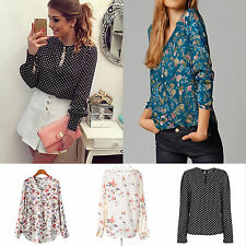 Women Sexy Ladies Autumn Floral Long Sleeve Blouse Boho Top T-shirt Tee Pullover
