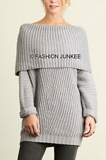 *LIGH GREY FOLDOVER SWEATER Top Chunky Knit Off the Shoulder Boat Neck NEW S M L