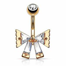 14G Belly Button Ring Ribbon Bow Fancy Navel Ring with Bow CZ Belly Ring Bow