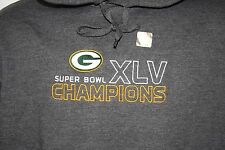 NEW Mens NFL Team Apparel Green Bay PACKERS Super Bowl XLV Champs Grey Hoodie