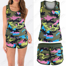 NEW LADIES CAMOUFLAGE PRINT TOP SHORTS SUIT WOMENS VEST TOPS LOUNGE SET CO ORD