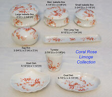 """French Limoge """"Coral Rose"""" Tray Trinket Jewelry  Egg, Shell, Oval, Tumbler Cup"""