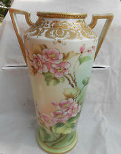 "ANTIQUE NIPPON VASE 12"" MORIAGE GOLD HAND PAINTED APPLE BLOSSOMS HANDLES VINTAGE"