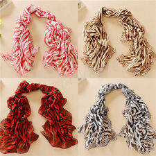 Fashion Women Chiffon zebra stripe Long Soft Scarf Shawl Scarves Stole Wraps   H