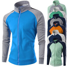 Fashion Mens Slim Color matching Coat Mens Stand Collar Casual Sport Jacket Tops